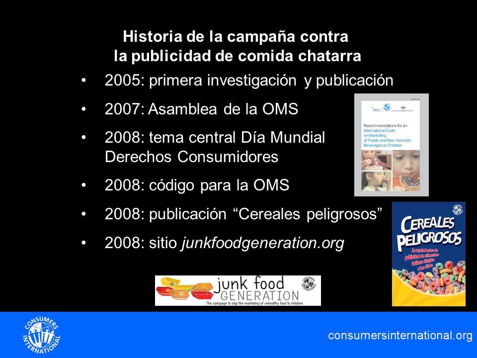 Historia de la campaña contra la publicidad de comida chatarra 2005: primera investigación y publicación 2007: Asamblea de la OMS 2008: tema central D