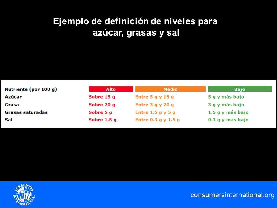 Ejemplo de definición de niveles para azúcar, grasas y sal