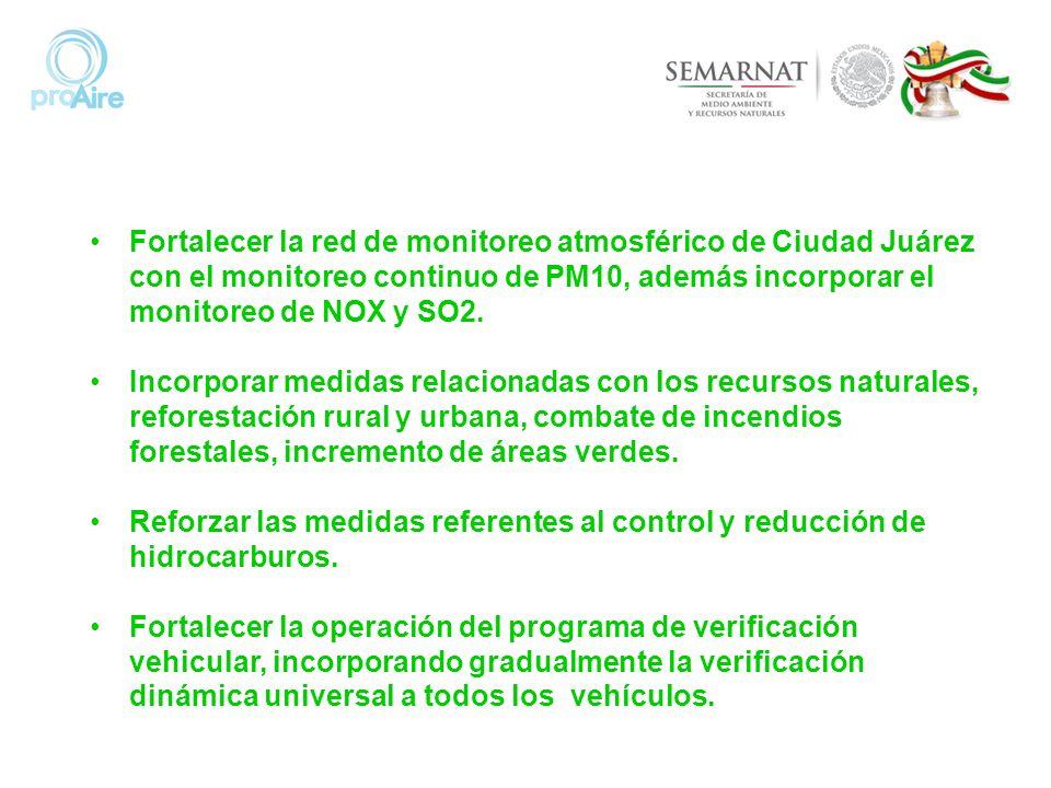 Fortalecer la red de monitoreo atmosférico de Ciudad Juárez con el monitoreo continuo de PM10, además incorporar el monitoreo de NOX y SO2. Incorporar
