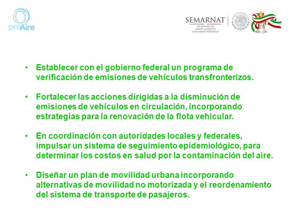 Establecer con el gobierno federal un programa de verificación de emisiones de vehículos transfronterizos. Fortalecer las acciones dirigidas a la dism