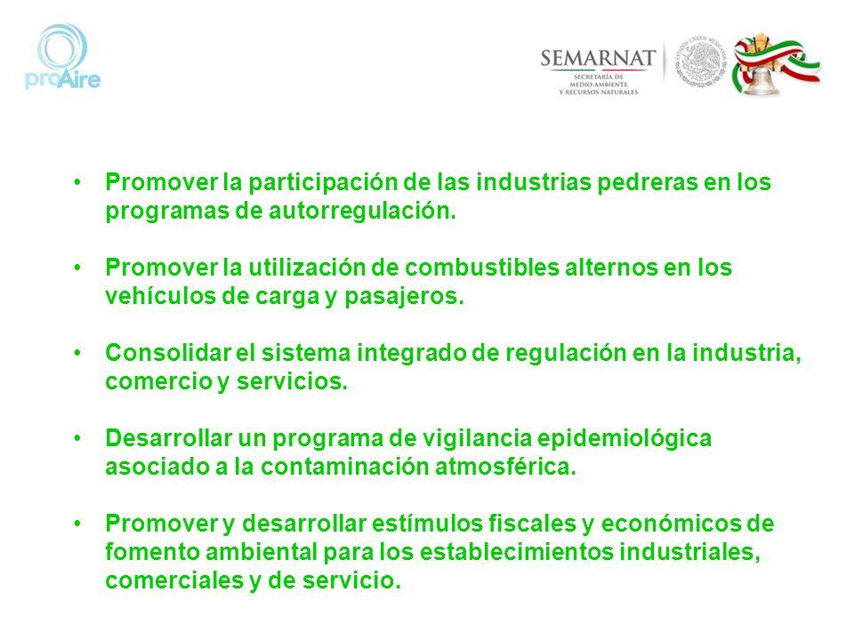 Promover la participación de las industrias pedreras en los programas de autorregulación. Promover la utilización de combustibles alternos en los vehí