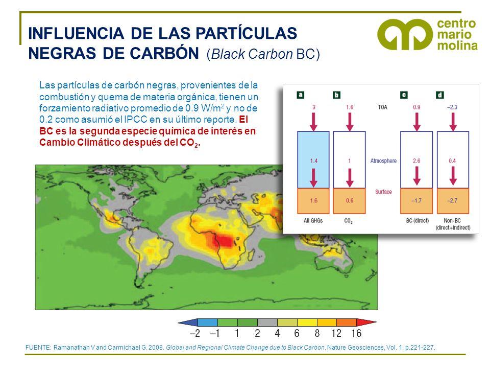 INFLUENCIA DE LAS PARTÍCULAS NEGRAS DE CARBÓN (Black Carbon BC) FUENTE: Ramanathan V and Carmichael G. 2008. Global and Regional Climate Change due to