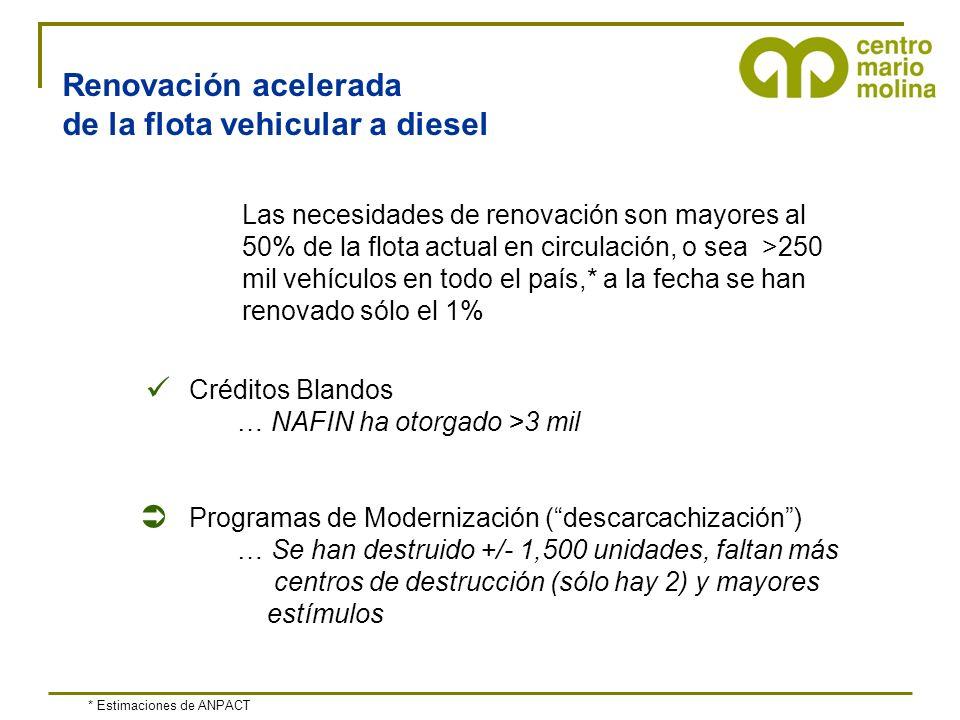 Renovación acelerada de la flota vehicular a diesel Créditos Blandos … NAFIN ha otorgado >3 mil Programas de Modernización (descarcachización) … Se ha