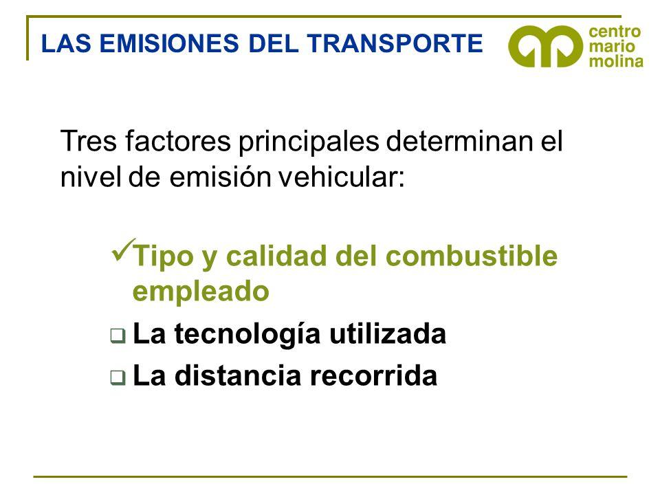 LAS EMISIONES DEL TRANSPORTE Tres factores principales determinan el nivel de emisión vehicular: Tipo y calidad del combustible empleado La tecnología