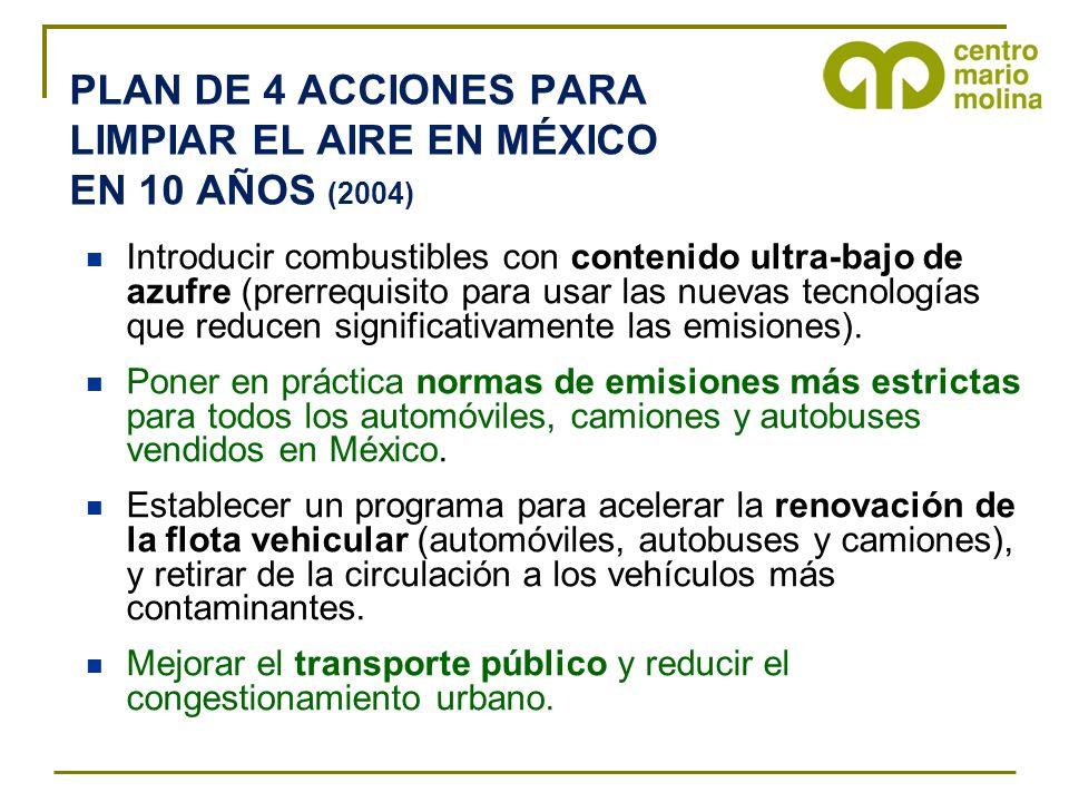 PLAN DE 4 ACCIONES PARA LIMPIAR EL AIRE EN MÉXICO EN 10 AÑOS (2004) Introducir combustibles con contenido ultra-bajo de azufre (prerrequisito para usa