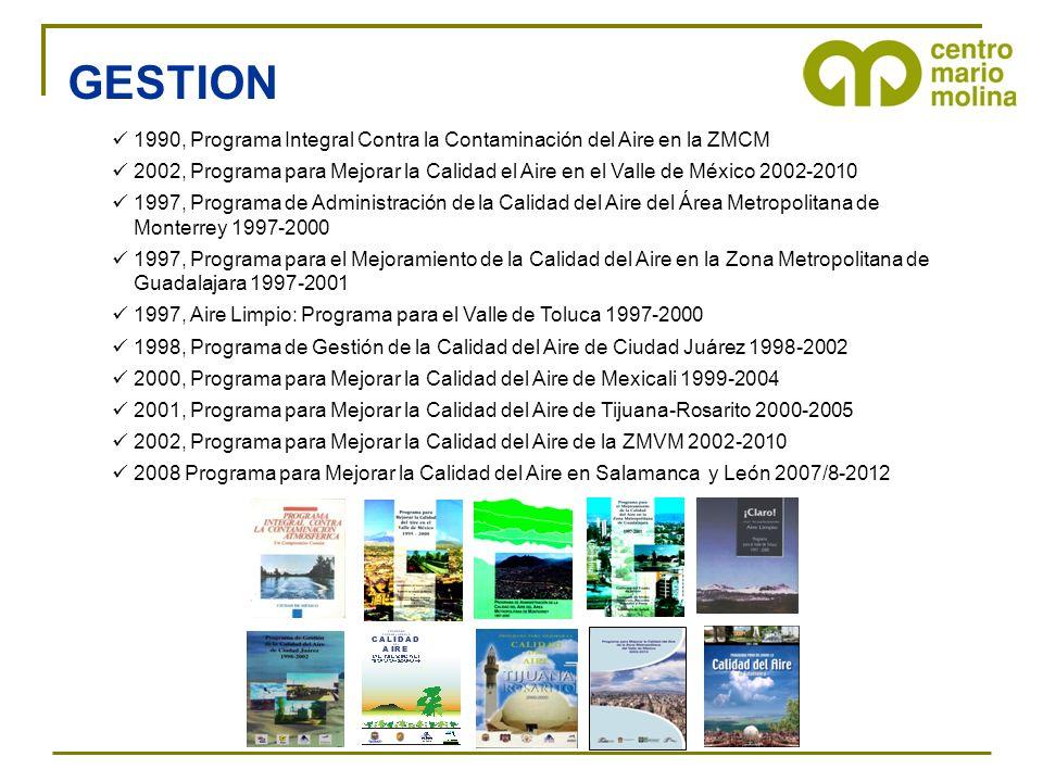1990, Programa Integral Contra la Contaminación del Aire en la ZMCM 2002, Programa para Mejorar la Calidad el Aire en el Valle de México 2002-2010 199
