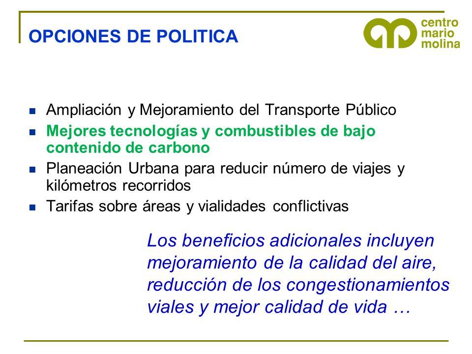 OPCIONES DE POLITICA Ampliación y Mejoramiento del Transporte Público Mejores tecnologías y combustibles de bajo contenido de carbono Planeación Urban