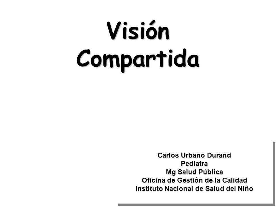 Visión Compartida Carlos Urbano Durand Pediatra Mg Salud Pública Oficina de Gestión de la Calidad Instituto Nacional de Salud del Niño Carlos Urbano D