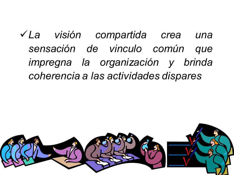 La visión compartida crea una sensación de vinculo común que impregna la organización y brinda coherencia a las actividades dispares