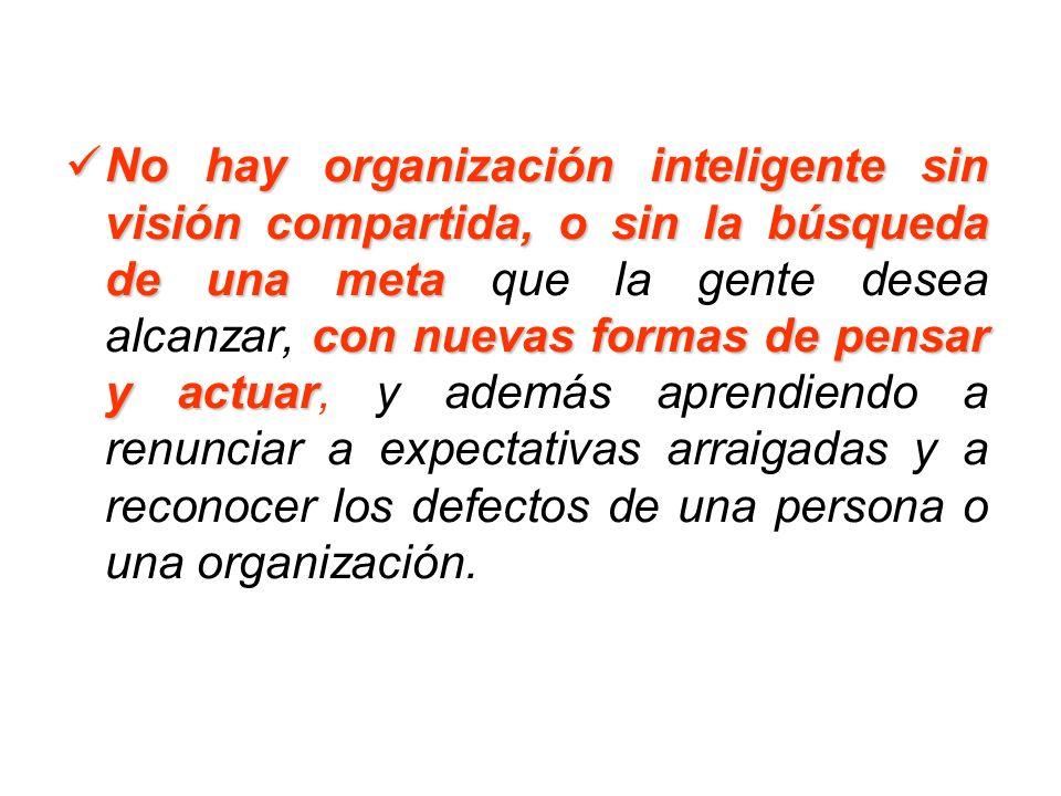 No hay organización inteligente sin visión compartida, o sin la búsqueda de una meta con nuevas formas de pensar y actuar No hay organización intelige