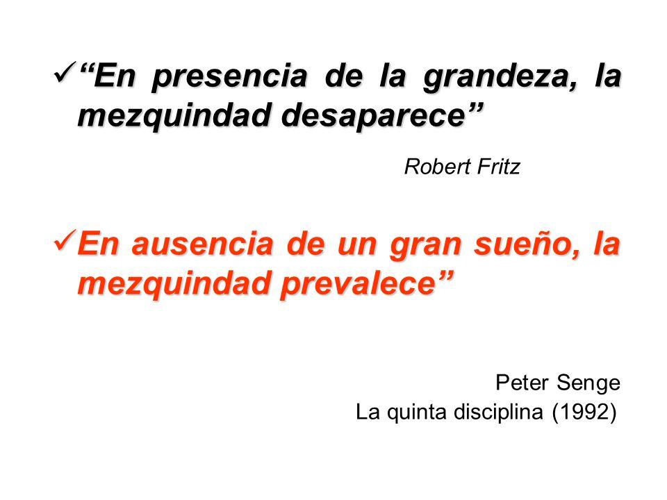 En presencia de la grandeza, la mezquindad desaparece En presencia de la grandeza, la mezquindad desaparece Robert Fritz En ausencia de un gran sueño,