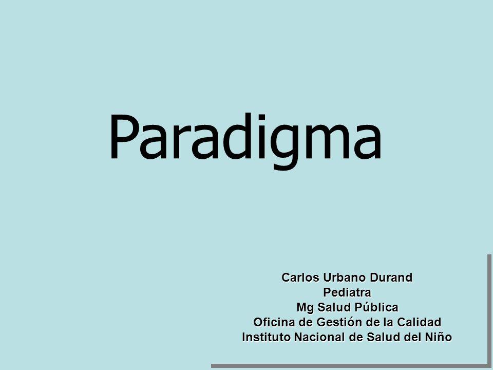 Paradigma Carlos Urbano Durand Pediatra Mg Salud Pública Oficina de Gestión de la Calidad Instituto Nacional de Salud del Niño Carlos Urbano Durand Pe