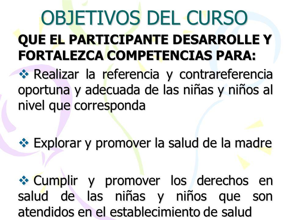 OBJETIVOS DEL CURSO QUE EL PARTICIPANTE DESARROLLE Y FORTALEZCA COMPETENCIAS PARA: Realizar la referencia y contrareferencia oportuna y adecuada de la