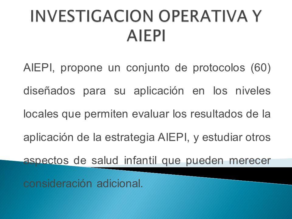 AIEPI, propone un conjunto de protocolos (60) diseñados para su aplicación en los niveles locales que permiten evaluar los resultados de la aplicación de la estrategia AIEPI, y estudiar otros aspectos de salud infantil que pueden merecer consideración adicional.