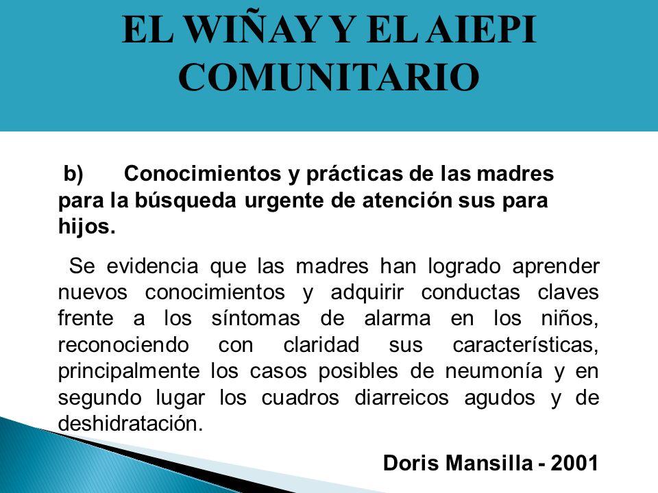 EL WIÑAY Y EL AIEPI COMUNITARIO b)Conocimientos y prácticas de las madres para la búsqueda urgente de atención sus para hijos.