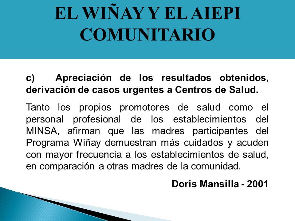 EL WIÑAY Y EL AIEPI COMUNITARIO c)Apreciación de los resultados obtenidos, derivación de casos urgentes a Centros de Salud.