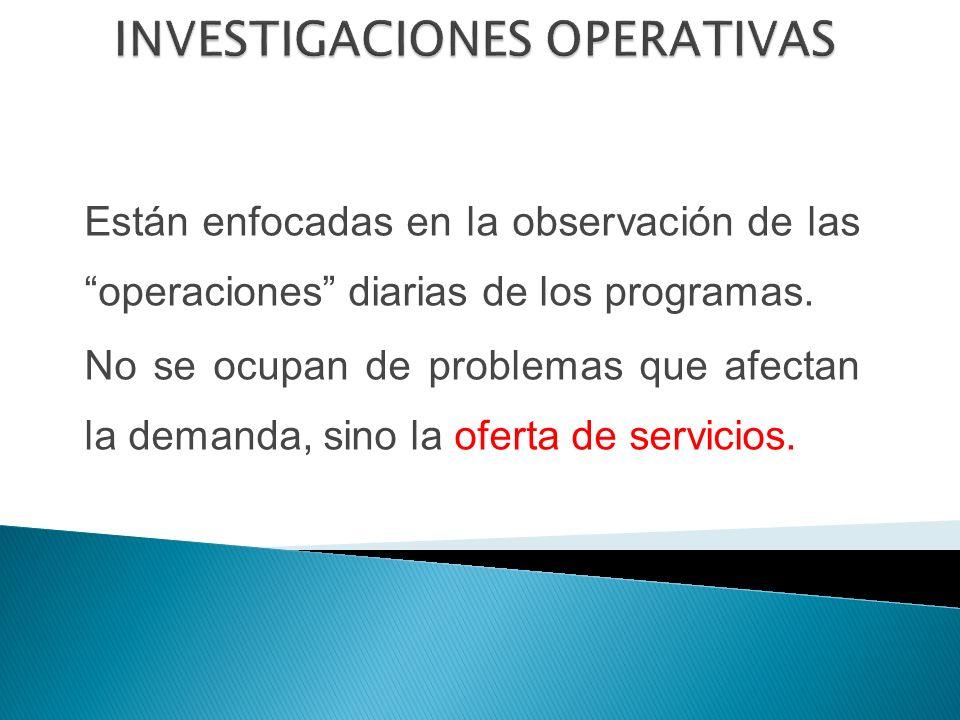 Están enfocadas en la observación de las operaciones diarias de los programas.