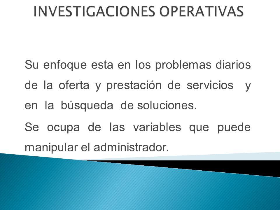 Su enfoque esta en los problemas diarios de la oferta y prestación de servicios y en la búsqueda de soluciones.
