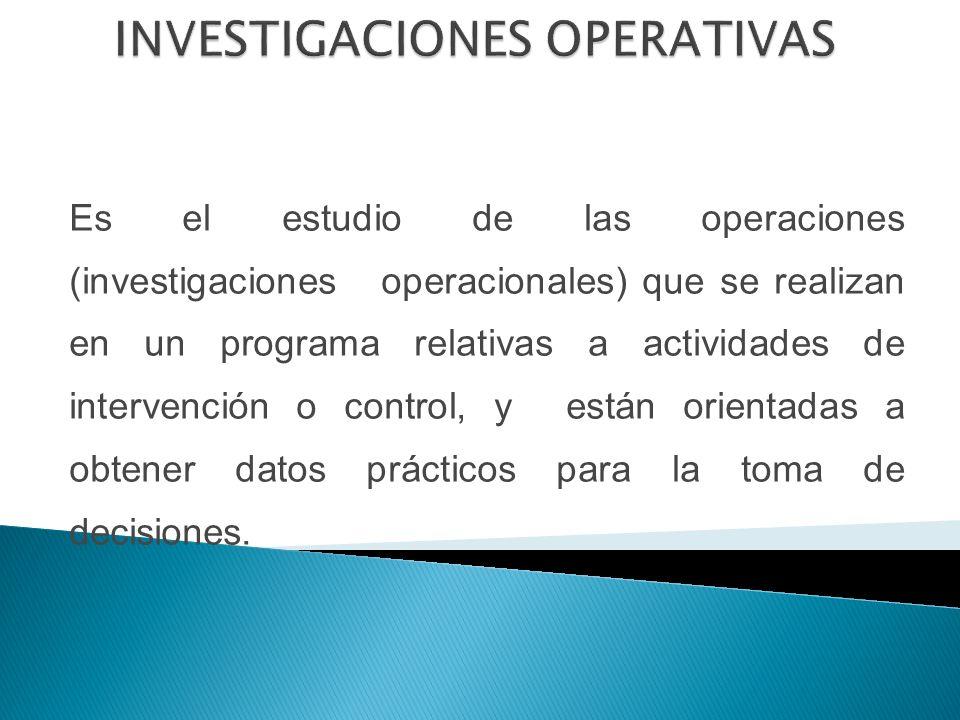 Es el estudio de las operaciones (investigaciones operacionales) que se realizan en un programa relativas a actividades de intervención o control, y están orientadas a obtener datos prácticos para la toma de decisiones.