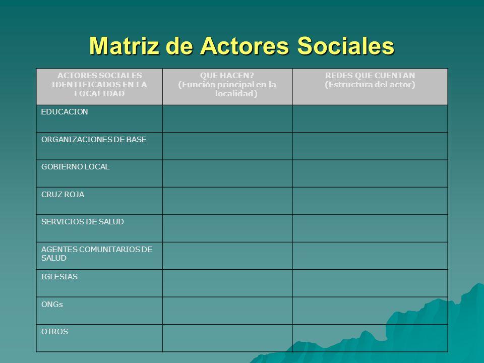 Actores Sociales y sus Redes Qué Instituciones públicas y privadas existen en la localidad? Qué Instituciones públicas y privadas existen en la locali