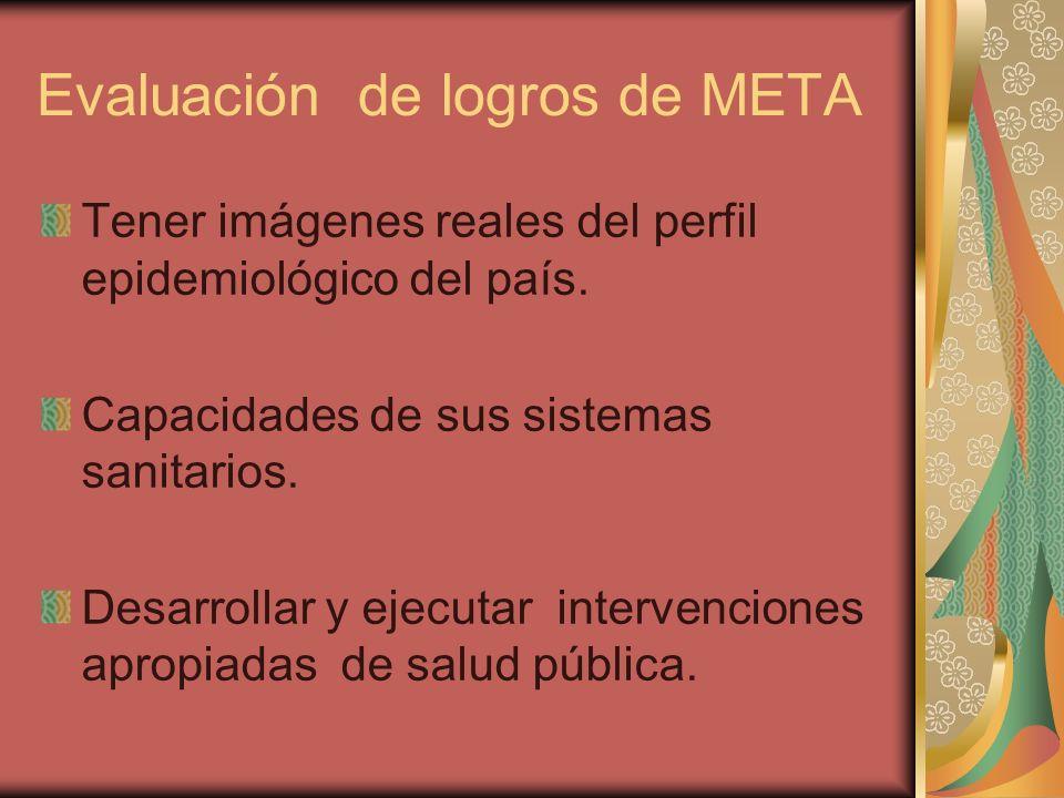 Evaluación de logros de META Tener imágenes reales del perfil epidemiológico del país. Capacidades de sus sistemas sanitarios. Desarrollar y ejecutar