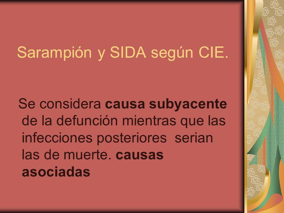 Sarampión y SIDA según CIE.