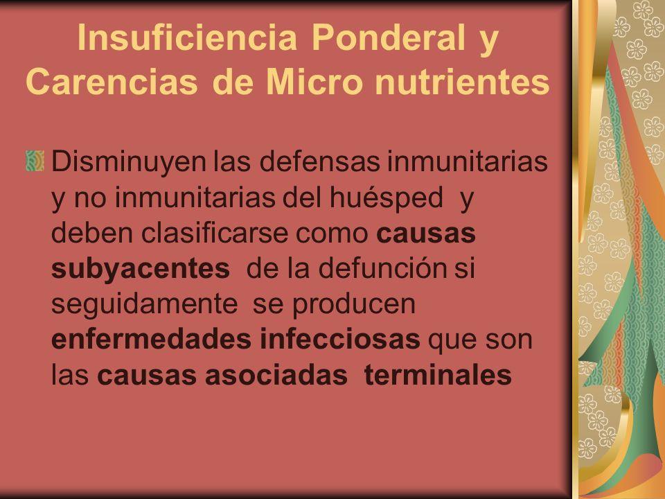Insuficiencia Ponderal y Carencias de Micro nutrientes Disminuyen las defensas inmunitarias y no inmunitarias del huésped y deben clasificarse como causas subyacentes de la defunción si seguidamente se producen enfermedades infecciosas que son las causas asociadas terminales