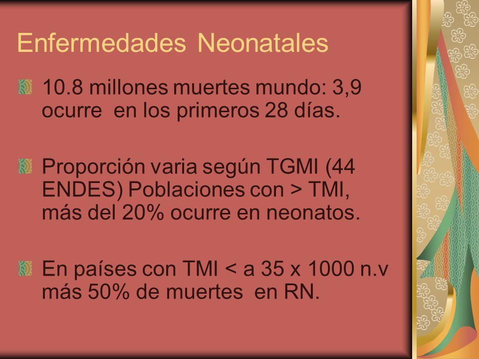 Enfermedades Neonatales 10.8 millones muertes mundo: 3,9 ocurre en los primeros 28 días. Proporción varia según TGMI (44 ENDES) Poblaciones con > TMI,