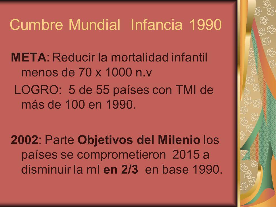 Cumbre Mundial Infancia 1990 META: Reducir la mortalidad infantil menos de 70 x 1000 n.v LOGRO: 5 de 55 países con TMI de más de 100 en 1990. 2002: Pa