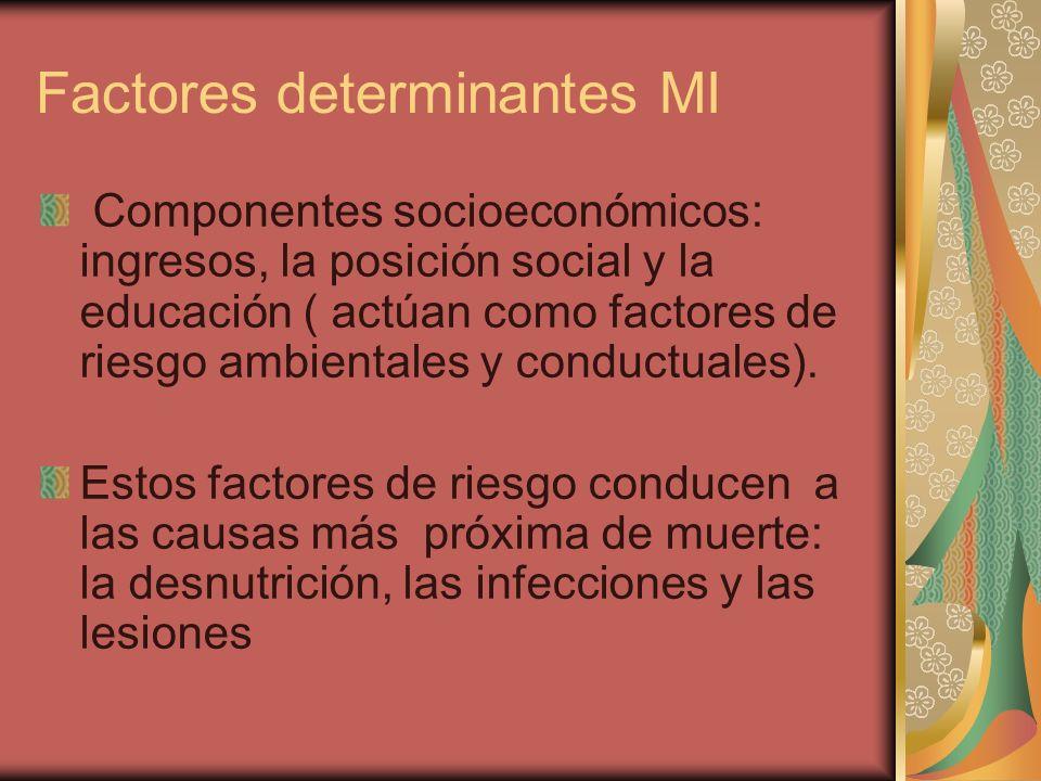 Factores determinantes MI Componentes socioeconómicos: ingresos, la posición social y la educación ( actúan como factores de riesgo ambientales y conductuales).