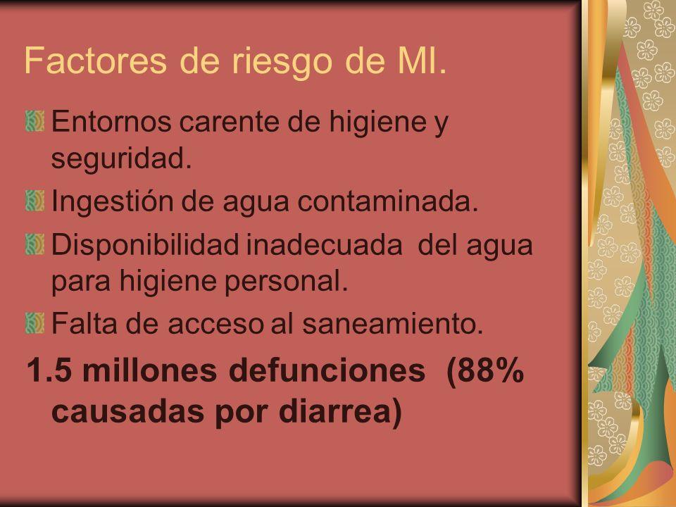 Factores de riesgo de MI. Entornos carente de higiene y seguridad.