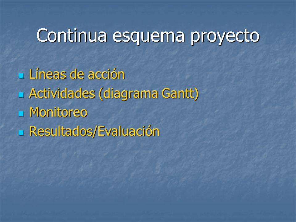 Continua esquema proyecto Líneas de acción Líneas de acción Actividades (diagrama Gantt) Actividades (diagrama Gantt) Monitoreo Monitoreo Resultados/E