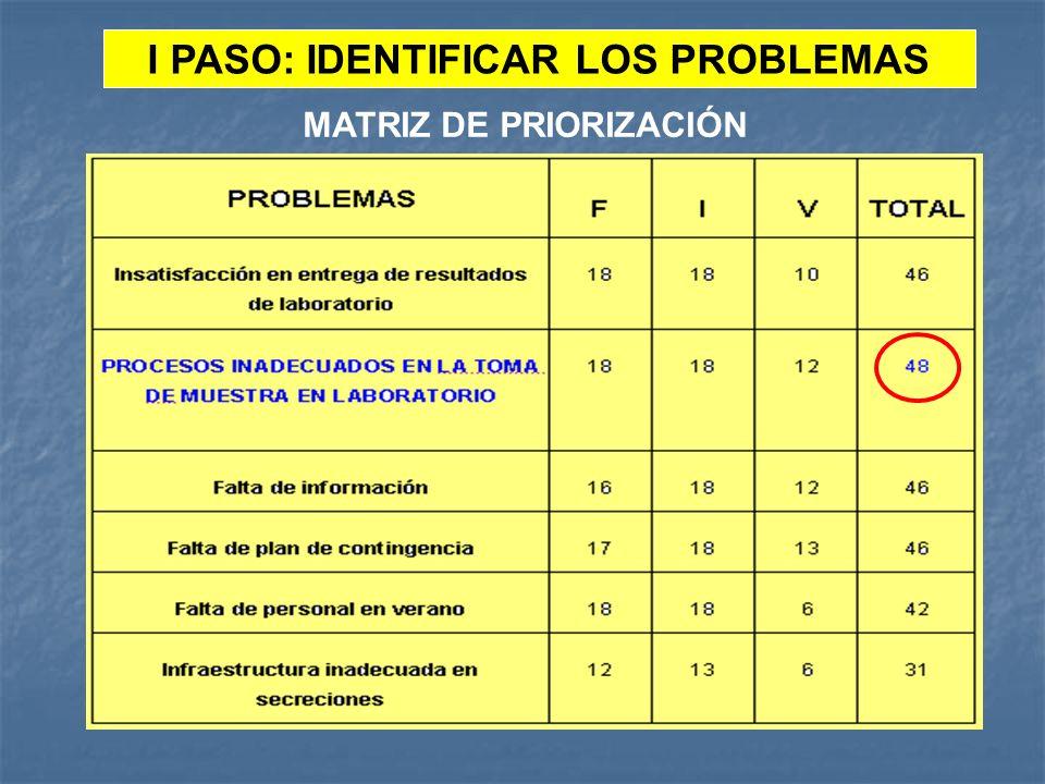 I PASO: IDENTIFICAR LOS PROBLEMAS MATRIZ DE PRIORIZACIÓN