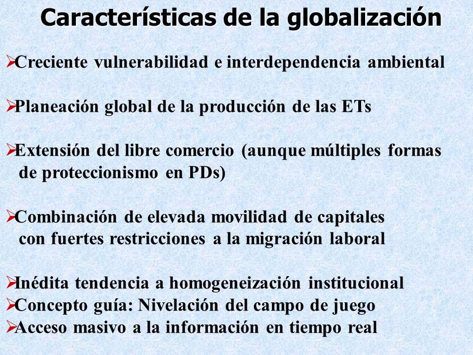 Características de la globalización Creciente vulnerabilidad e interdependencia ambiental Planeación global de la producción de las ETs Extensión del
