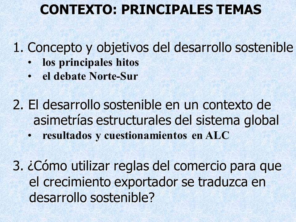 1.Concepto y objetivos del desarrollo sostenible los principales hitos el debate Norte-Sur 2. El desarrollo sostenible en un contexto de asimetrías es
