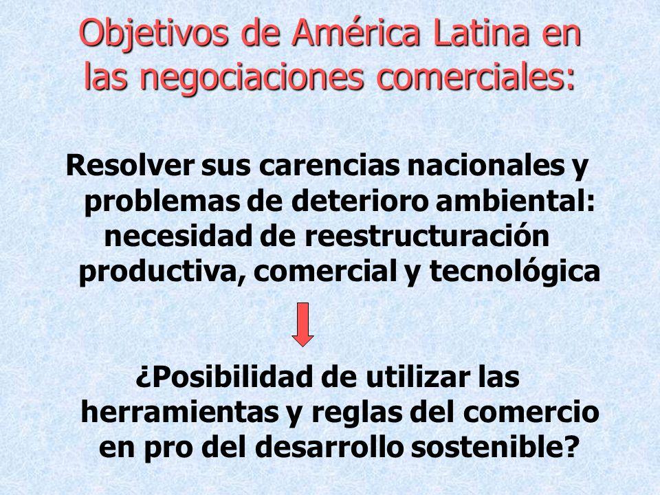 Objetivos de América Latina en las negociaciones comerciales: Resolver sus carencias nacionales y problemas de deterioro ambiental: necesidad de reest