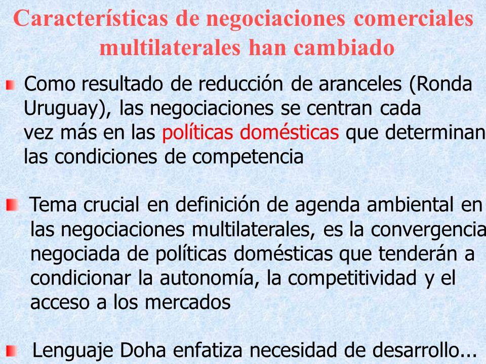 Características de negociaciones comerciales multilaterales han cambiado Como resultado de reducción de aranceles (Ronda Uruguay), las negociaciones s
