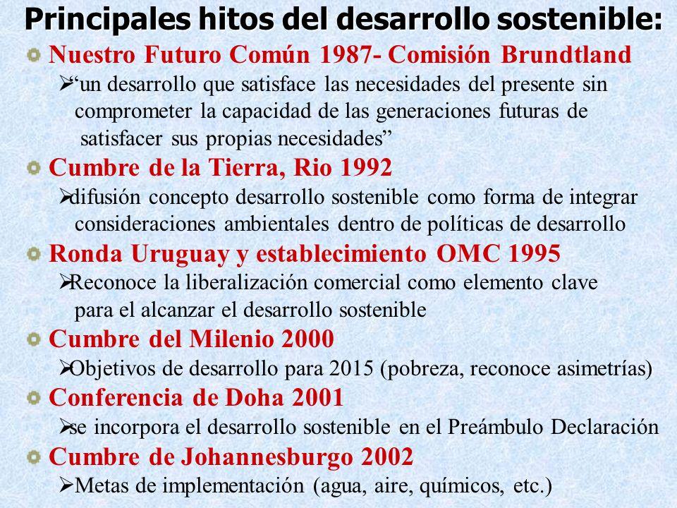 Principales hitos del desarrollo sostenible: Nuestro Futuro Común 1987- Comisión Brundtland un desarrollo que satisface las necesidades del presente s