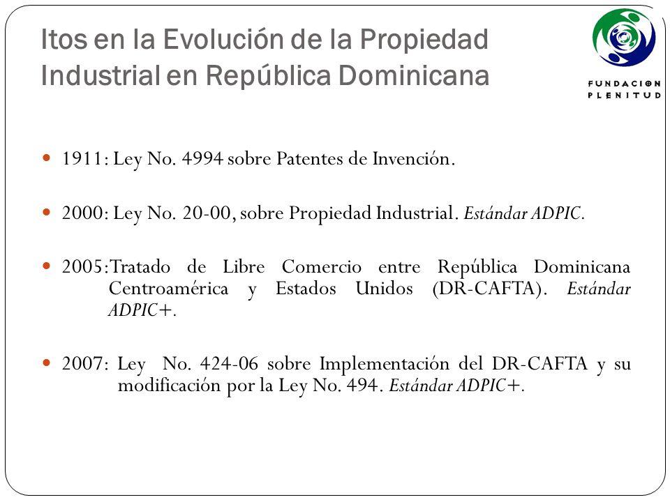 Itos en la Evolución de la Propiedad Industrial en República Dominicana 1911: Ley No. 4994 sobre Patentes de Invención. 2000: Ley No. 20-00, sobre Pro