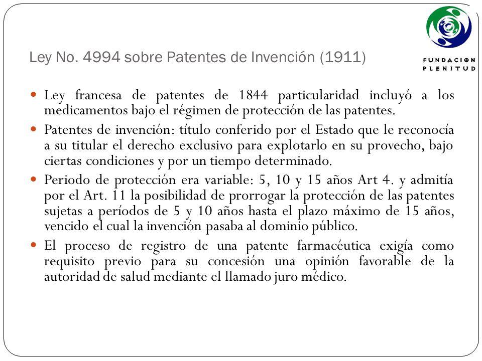 Ley No. 4994 sobre Patentes de Invención (1911) Ley francesa de patentes de 1844 particularidad incluyó a los medicamentos bajo el régimen de protecci