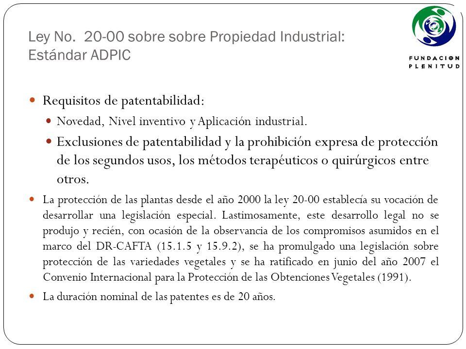 Ley No. 20-00 sobre sobre Propiedad Industrial: Estándar ADPIC Requisitos de patentabilidad: Novedad, Nivel inventivo y Aplicación industrial. Exclusi