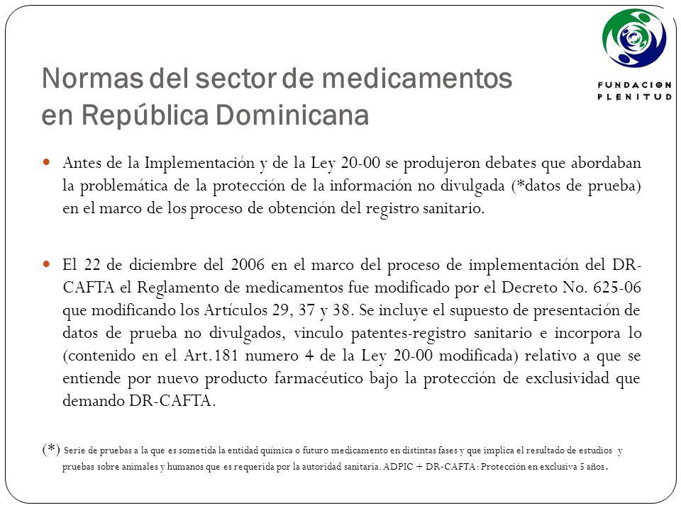 Normas del sector de medicamentos en República Dominicana Antes de la Implementación y de la Ley 20-00 se produjeron debates que abordaban la problemá