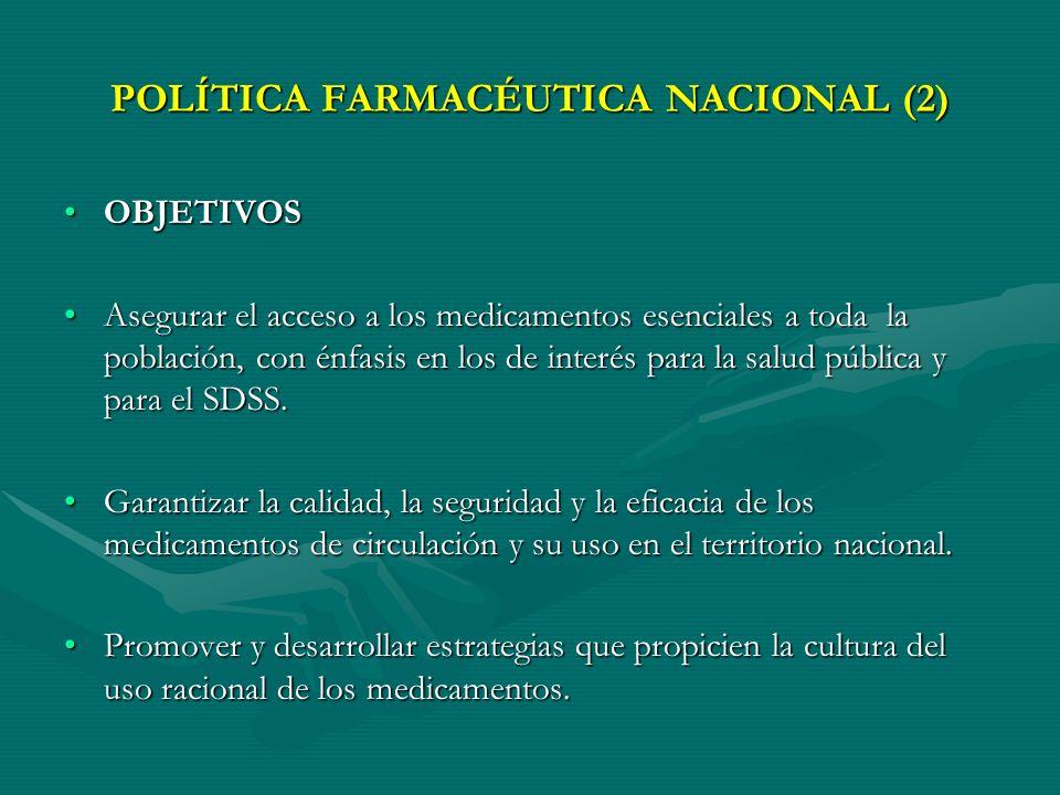 POLÍTICA FARMACÉUTICA NACIONAL PROPÓSITOPROPÓSITO El propósito de la Política Farmacéutica Nacional en el marco del Sistema Nacional de Salud y con én