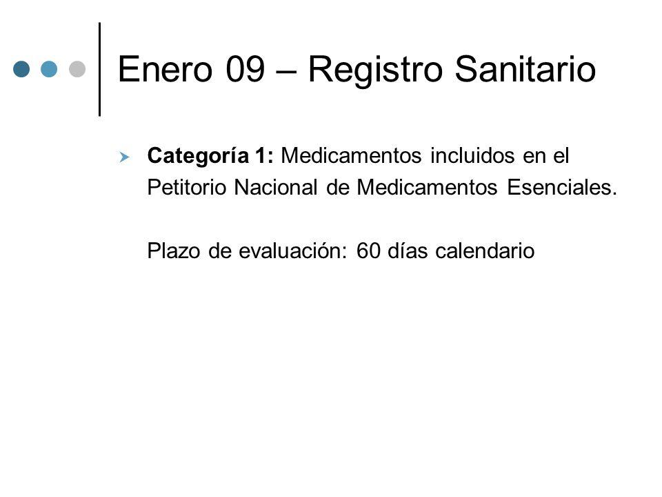 Enero 09 – Registro Sanitario Categoría 1: Medicamentos incluidos en el Petitorio Nacional de Medicamentos Esenciales.