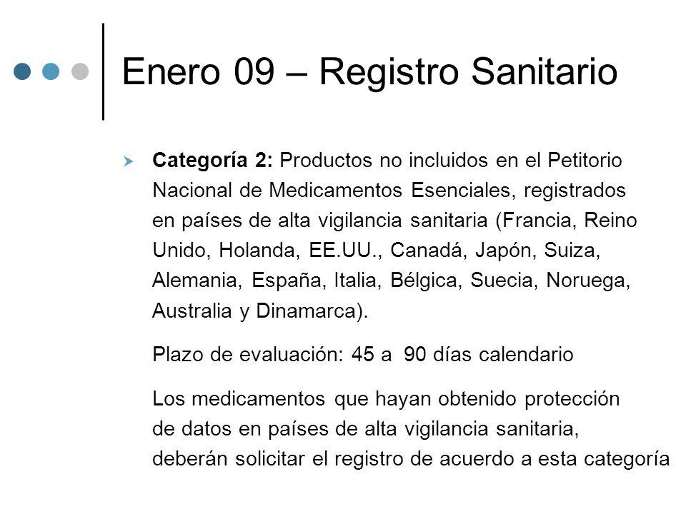 Enero 09 – Registro Sanitario Categoría 2: Productos no incluidos en el Petitorio Nacional de Medicamentos Esenciales, registrados en países de alta vigilancia sanitaria (Francia, Reino Unido, Holanda, EE.UU., Canadá, Japón, Suiza, Alemania, España, Italia, Bélgica, Suecia, Noruega, Australia y Dinamarca).