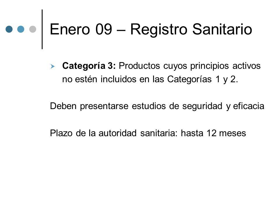 Enero 09 – Registro Sanitario Categoría 3: Productos cuyos principios activos no estén incluidos en las Categorías 1 y 2.