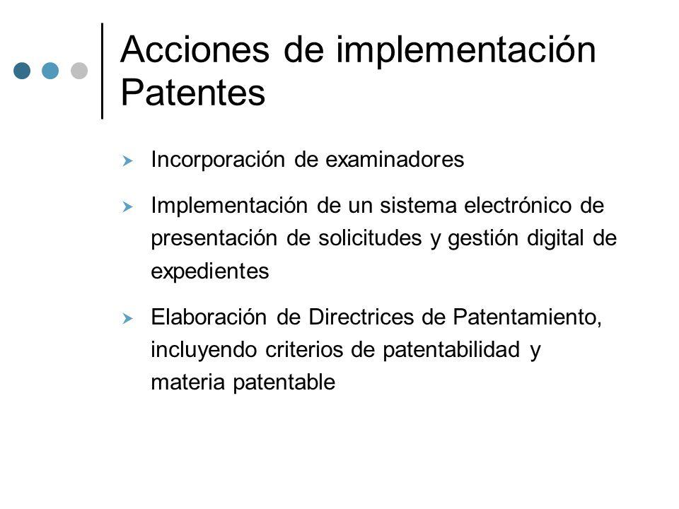 Acciones de implementación Patentes Incorporación de examinadores Implementación de un sistema electrónico de presentación de solicitudes y gestión digital de expedientes Elaboración de Directrices de Patentamiento, incluyendo criterios de patentabilidad y materia patentable