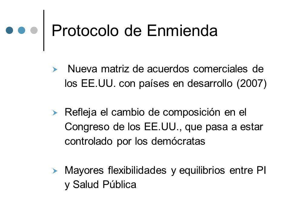 Protocolo de Enmienda Nueva matriz de acuerdos comerciales de los EE.UU.
