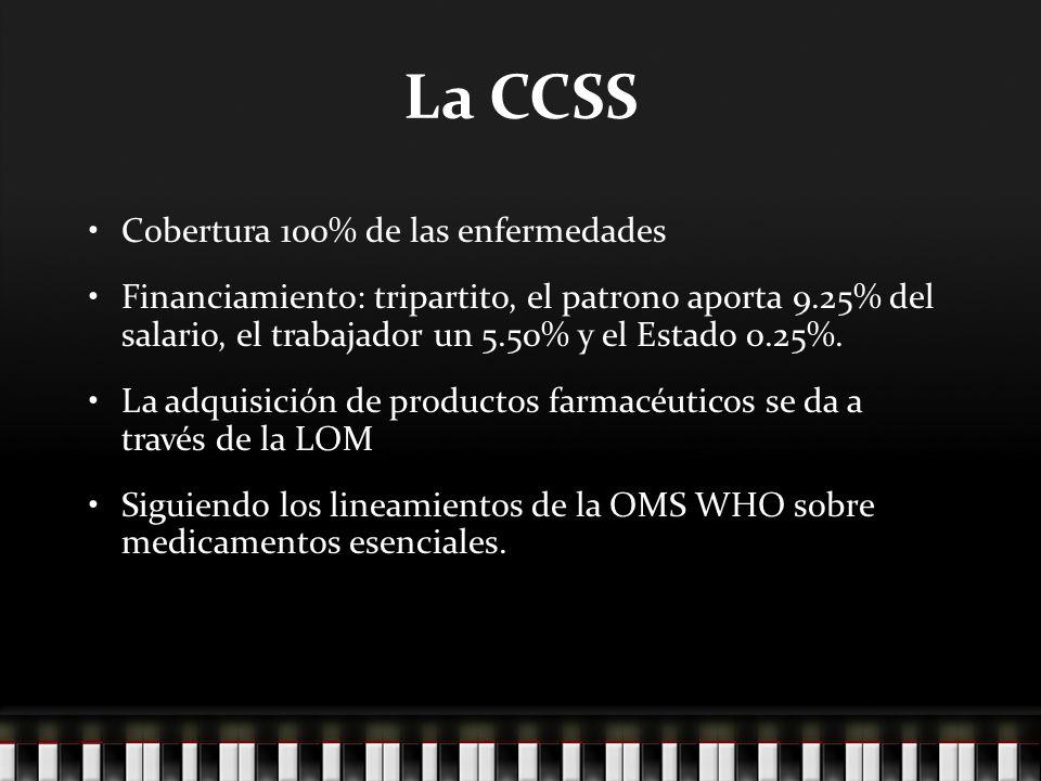 La CCSS Cobertura 100% de las enfermedades Financiamiento: tripartito, el patrono aporta 9.25% del salario, el trabajador un 5.50% y el Estado 0.25%.