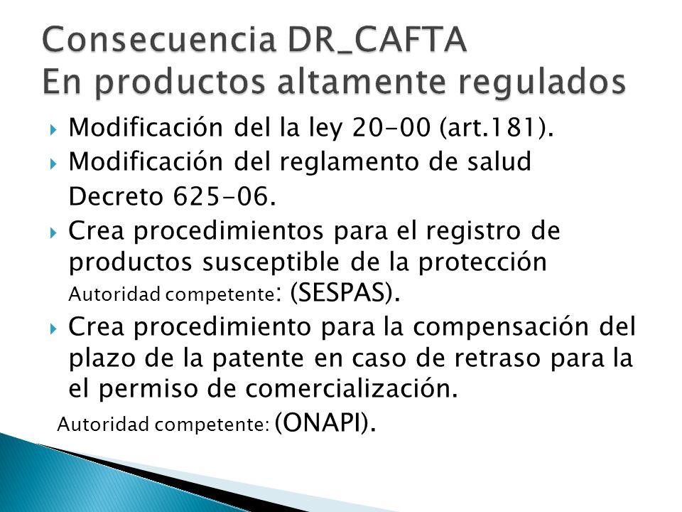 Modificación del la ley 20-00 (art.181).Modificación del reglamento de salud Decreto 625-06.